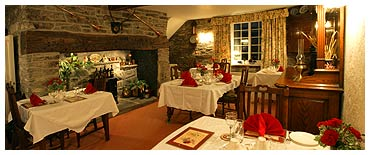 Breakfast and five course evening meal served in the dining room at Brynhir Farm.
